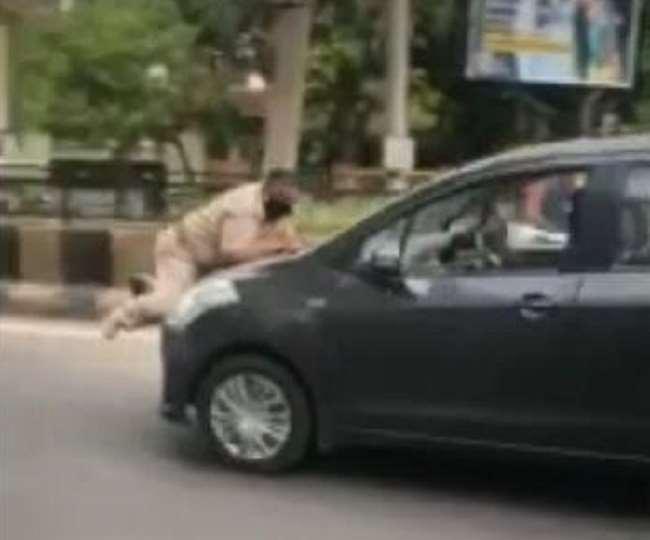 नाके पर रोका तो ASI को बोनट पर 50 मी. घसीटा, पुलिस वालों ने पीछा कर दबोचा युवक