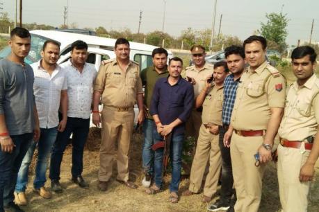 पुलिस मुठभेड़ में दो बदमाश गिरफ्तार, सिपाही को लगी गोली